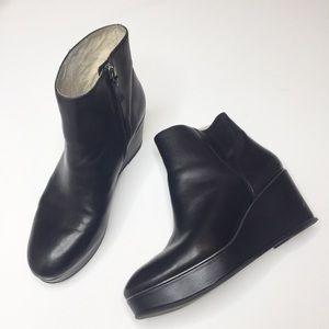 KLIK black leather wedge booties Size 8